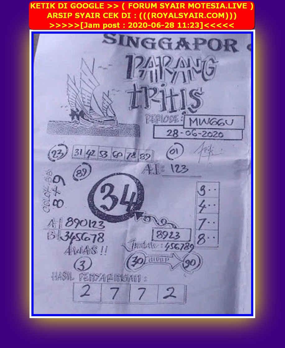 Kode syair Singapore Minggu 28 Juni 2020 31