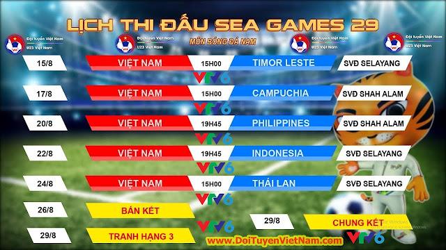 Lịch thi đấu bóng đá nam SEA Games 29 - U22 Việt Nam