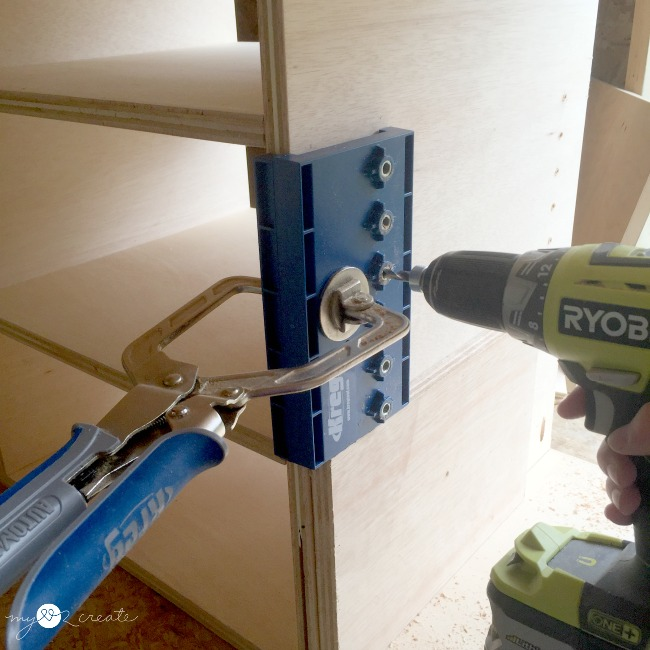creating adjustable shelves with a Kreg shelf pin jig