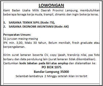 Informasi Terlengkap Hari Ini Info Lowongan Kerja Lampung