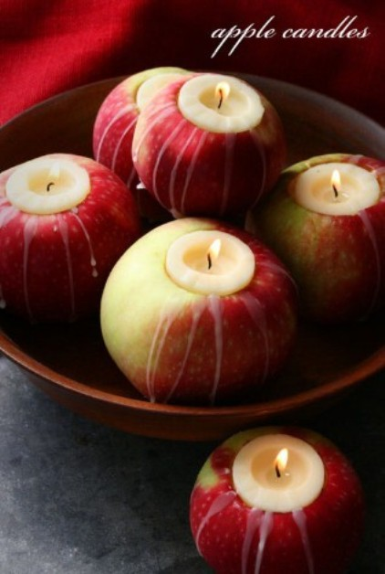 These apple candles are unique and one of a kind.