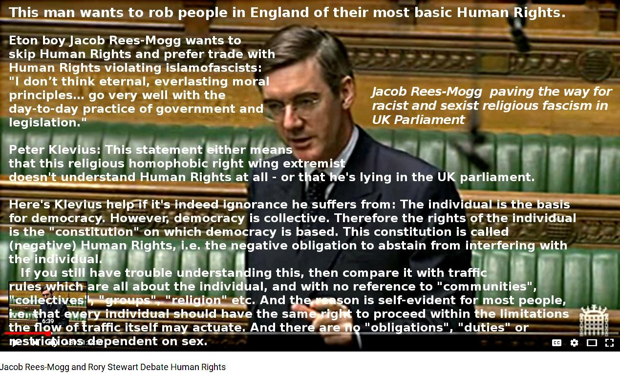 UK PM candidate Rees-Mogg: Germans needed Human Rights - we don't. Klevius: I really think you do.