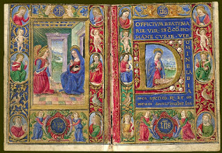 Manuscript miniature showing the annunciation of the Virgin from a Book of Hours
