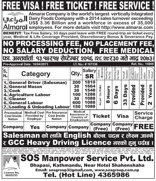 Free Visa, Free Ticket Jobs For Nepali In Saudi Arabia Salary- Rs.51,000/