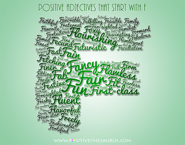positive adjectives that start with f word cloud