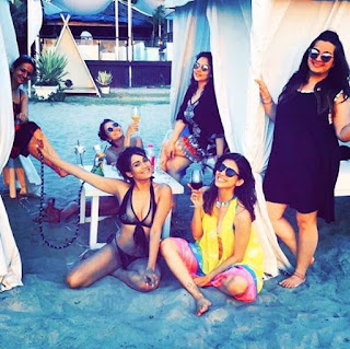 Kishwer Merchantt in bikini on her bachelor party