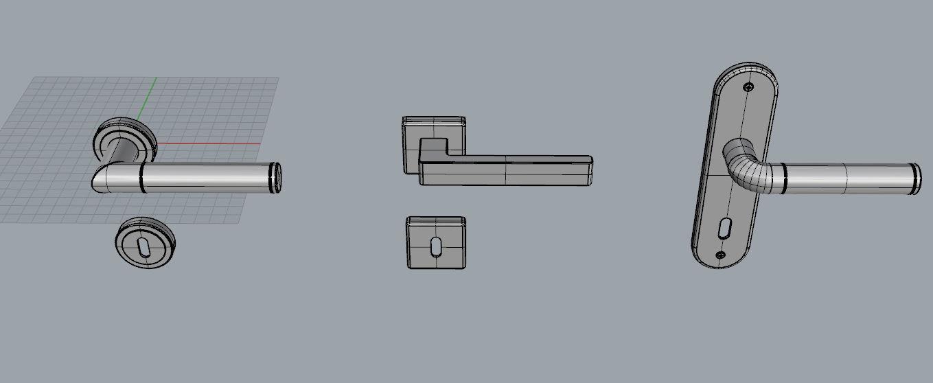 5038 Free Door Handle Set 3d Models