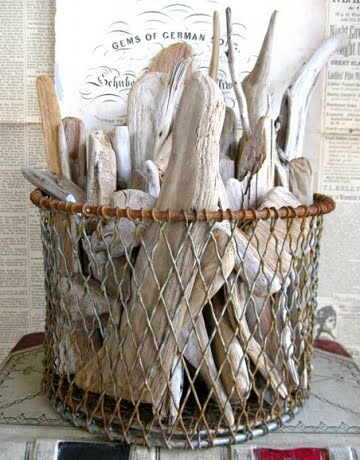 vintage wire basket with driftwood