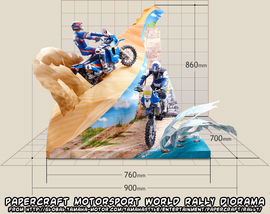 All papercraft motorsport diorama pieces now available from Yamaha!