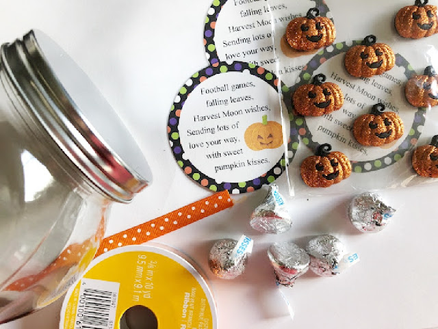 Send your love to your ministering friends, your kids, or your neighbors with this Pumpkin Kisses Halloween gift.  With a few treats and a little love, you'll be giving this candy jar in no time at all.