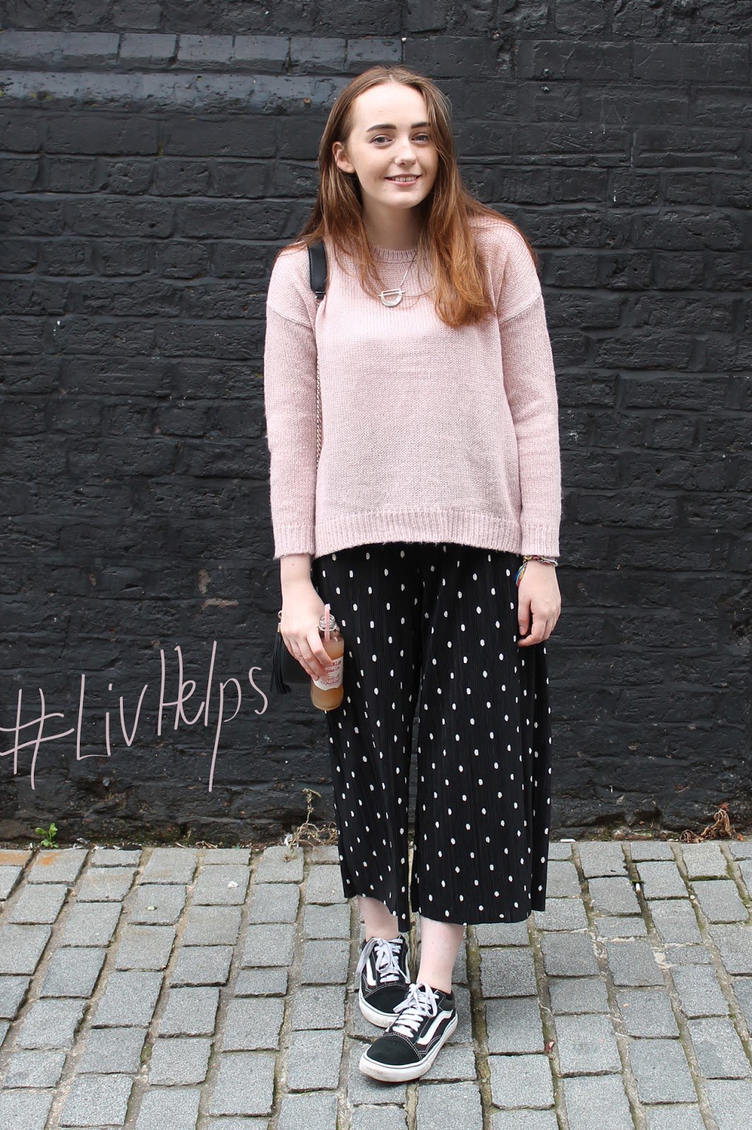 #livhelps blogger event outfit of the day, pale pink blush jumper new look, zara polka dot trousers, vans old skool trainers, topshop saddle bag
