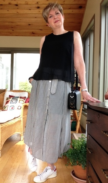 black and white striped midi skirt from A.L.C., black Rag and Bone silk tank