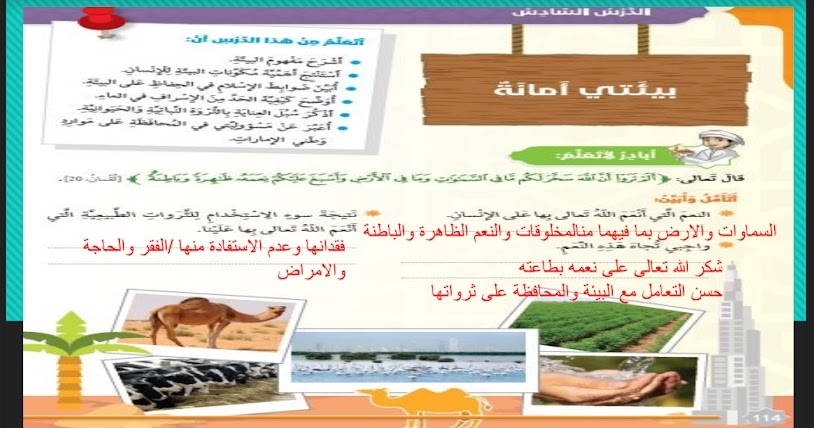 حل درس بيئتي أمانة في التربية الاسلامية للصف السادس الفصل الثالث بوربوينت