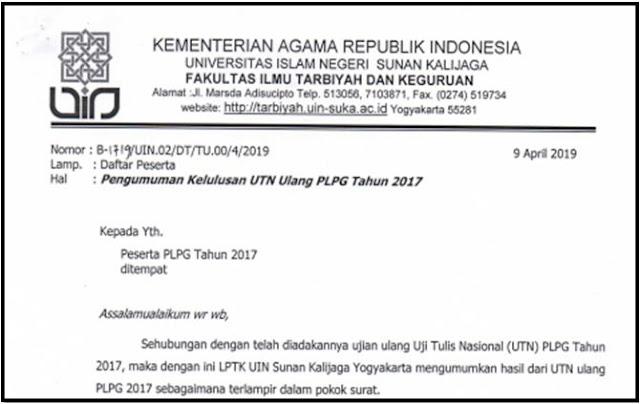 Pengumuman Hasil kelulusan UTN Ulang PLPG tahun 2017