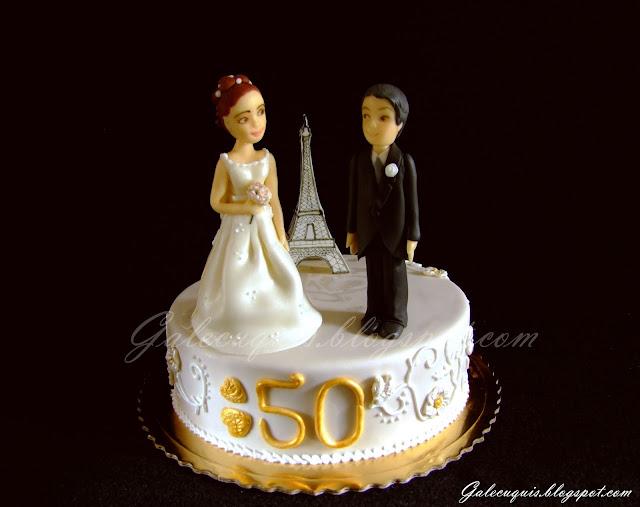 Tarta fondant aniversario de boda