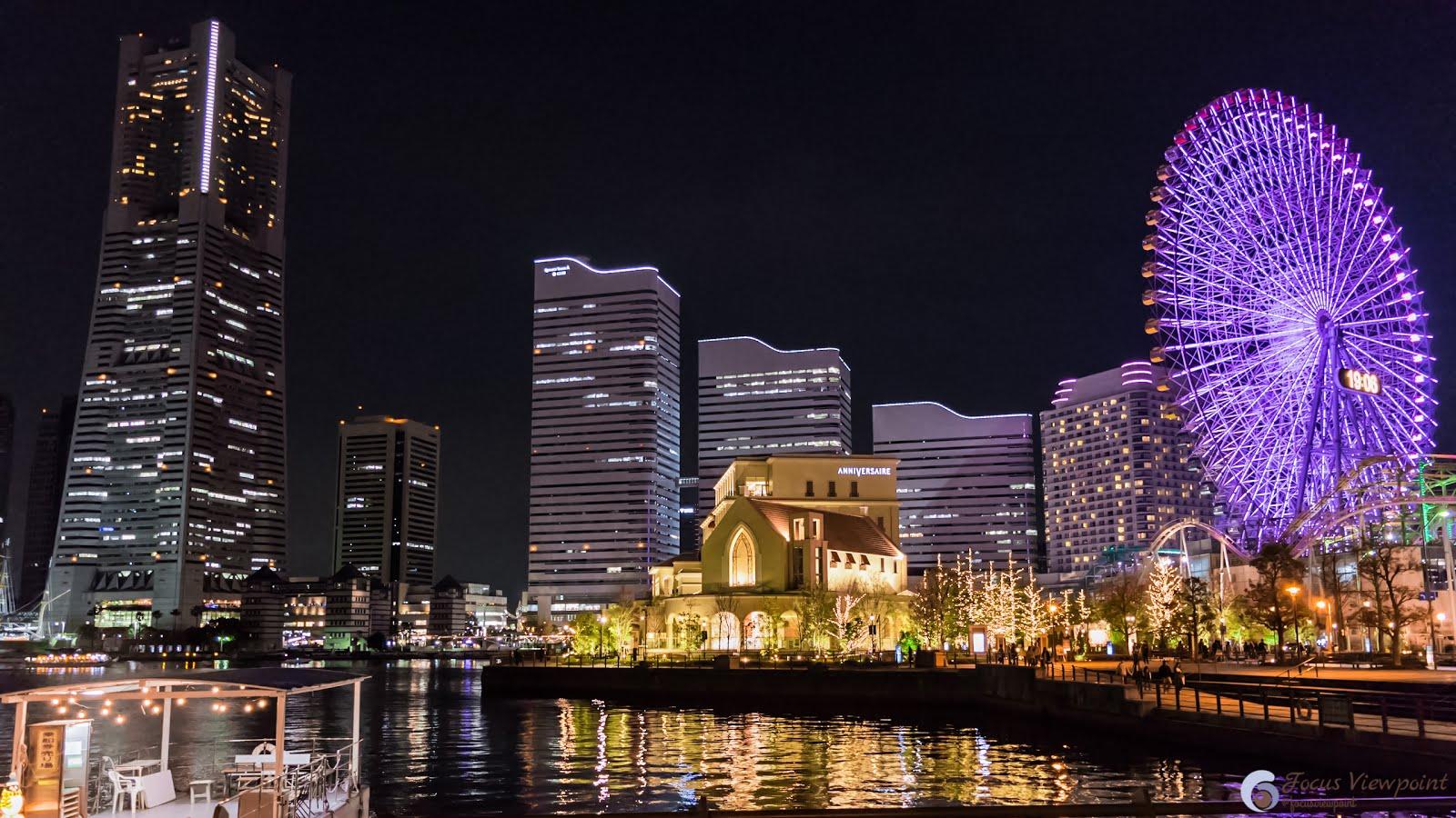 Evening city lights at Minato Mirai, Yokohama, Japan