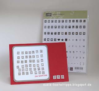 Buchstabenrätsel-Karte mit Stampin Up stempelset Labeler Alphabet