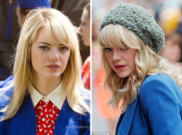 Эмма Стоун блондинка в одежде с высоким и средним контрастом