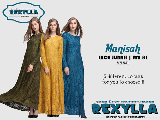 rexylla, lace jubah, manisah collection