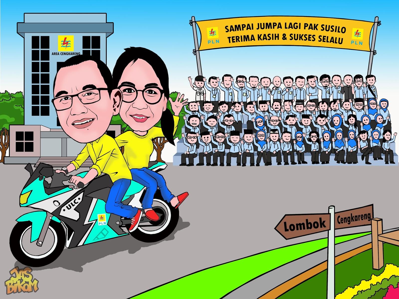 Karikatur Naik Sepeda Motor Mobil