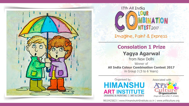 Consolation 1 Prize Winner  Yagya Agarwal from New Delhi in All India National Level Painting Competition for Kids