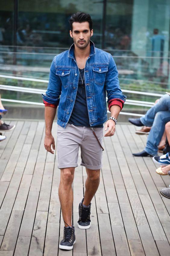 Jaqueta Jeans com Bermuda Masculino