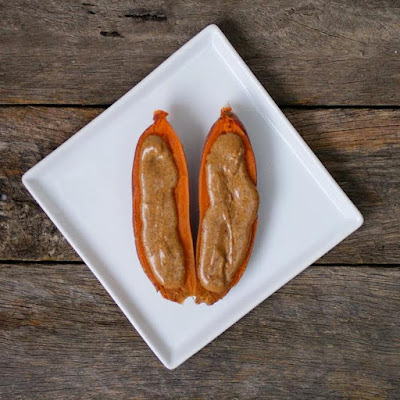 Sweet Potato with Almond Butter - Healthy Snack Ideas Gluten Free