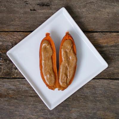 Sweet Potato with Almond Butter - Healthy Snack Ideas Gluten Free