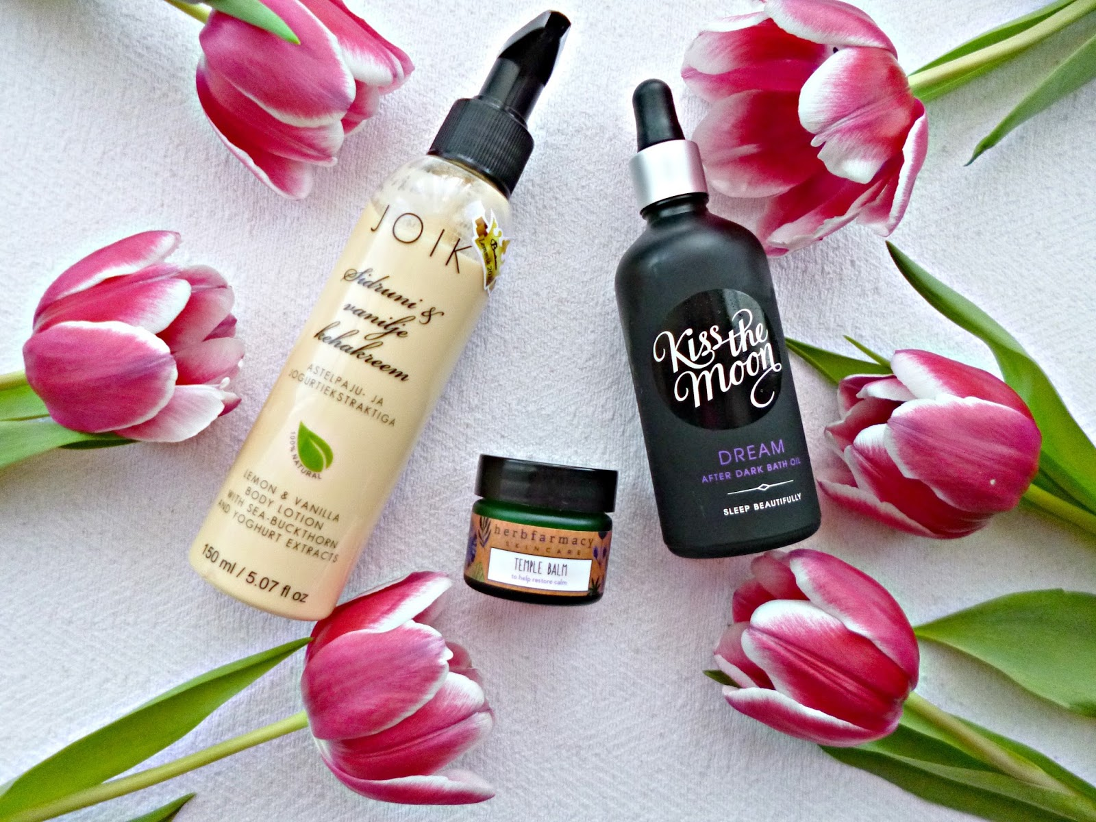 Three pampering products: Joik, Herbfarmacy and Kiss the Moon