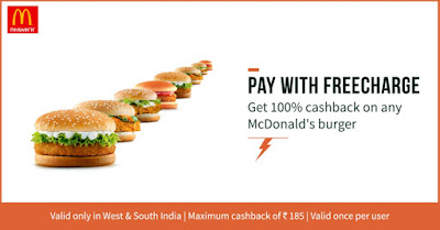 Pay With Freecharge and Get 100% Cashback on Any McDonald's Burger in West & South India