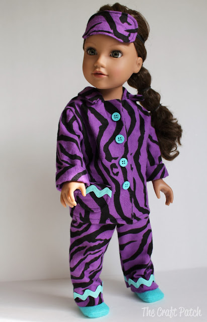 Make a cute pair of flannel pajamas for your AG doll! Free pattern.