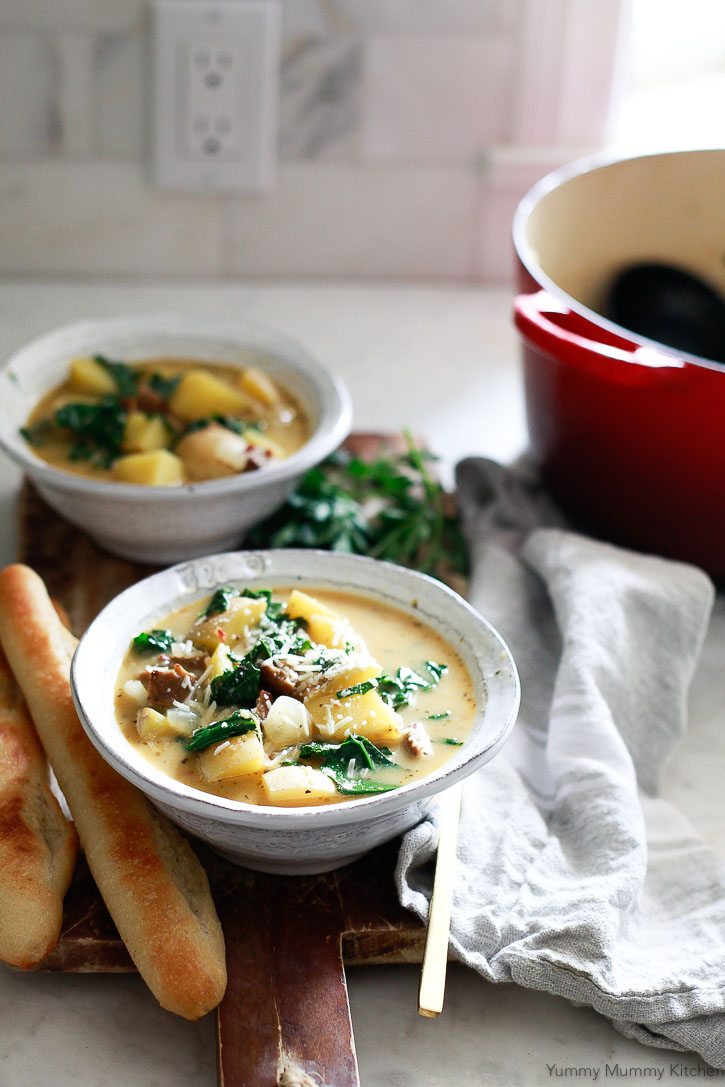 This Zuppa Toscana inspired by Olive Garden got a healthy vegan update! This hearty potato and kale soup is so good on cold nights.