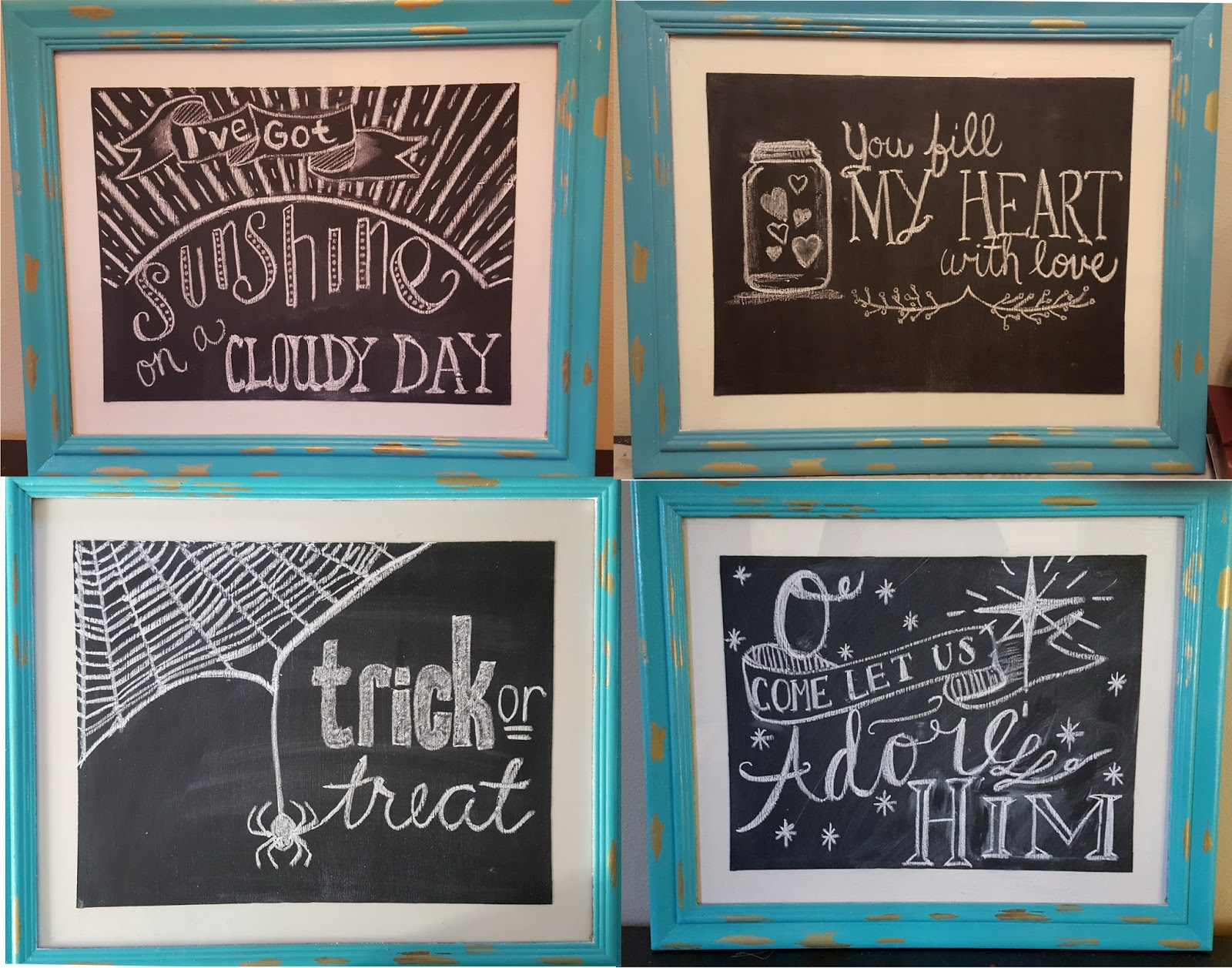 a long while back one of my sisters requested that i do a blog post with ideas for chalkboard designs and messages over the past 3 years - Chalkboard Designs Ideas