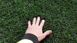 new artificial turf field at the high school is made with crumb rubber fill