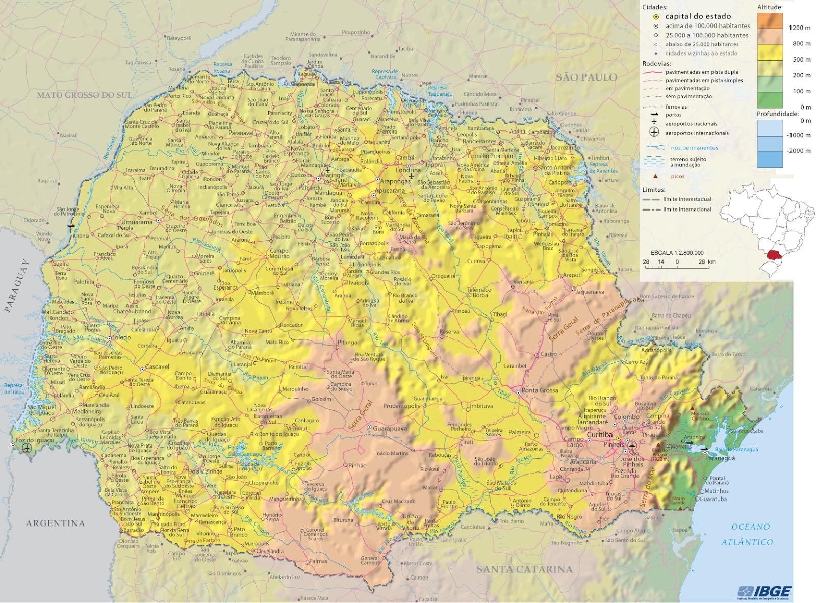 Mapa Físico do Paraná