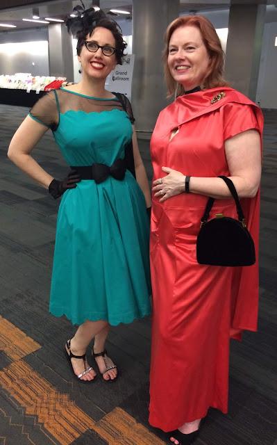 Gail Carriger WEars a Retro Turquoise & Black Mesh eShakti Cocktail Dress for WorldCon 2018 in San Jose