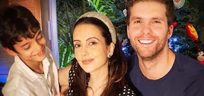 Thiago Fragoso em foto com a mulher, Mariana Vaz, e o filho, Benjamin; ator está em Salve-se Quem Puder