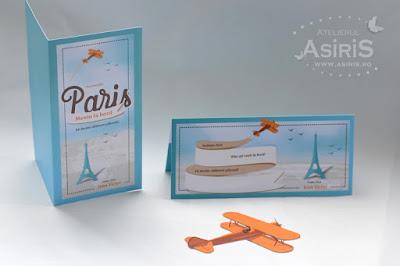 Meniu si plic de bani botez tematica travel destinatia Paris