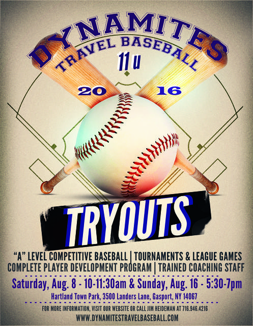 East Niagara Post Dynamites 11U travel baseball tryouts Sunday