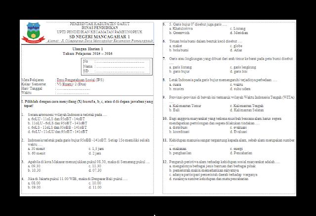 Soal Ulangan Harian (UH) PKn Kelas 6 Semester 2 SD/MI Tahun Ajaran 2015-2016