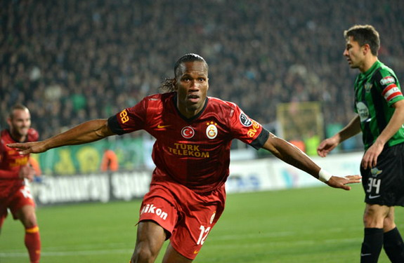 Didier Drogba celebrates after scoring his first goal for Galatasaray