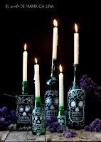 botellas decoradas para altar del dia de muertos
