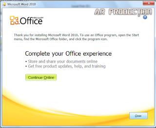 Instalasi Microsoft Office 2010 Tahap terakhir