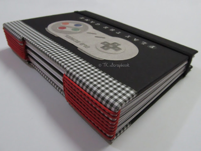 caderno menino videogame longstitch scrapbook
