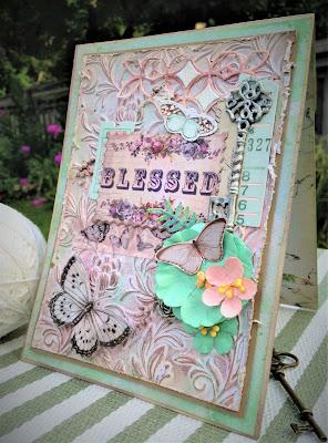 Sara Emily Barker http://sarascloset1.blogspot.com/ Prima Havana Shabby Chic Card #prima #havana #lavender #rosegoldwax #timholtz #3D embossing #botanicaltexturefade 1
