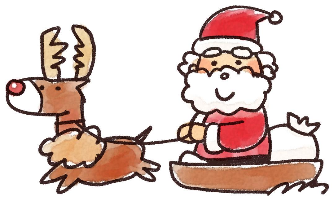 サンタとトナカイのイラスト ゆるかわいい無料イラスト素材集