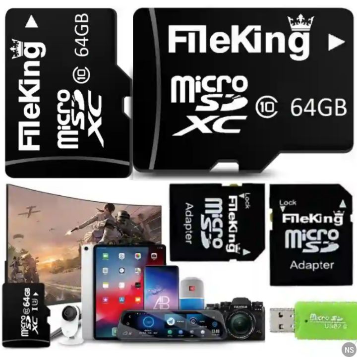 FileKing MicroSD: 64GB Data Storage Memory Card - Class 10 Micro SD XC TF Card with up to 80MB/s Read and 25MB/s Write Speed