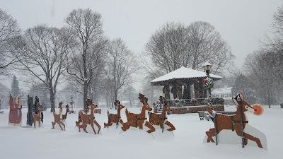 The Franklin Town Common covered in the recent snow