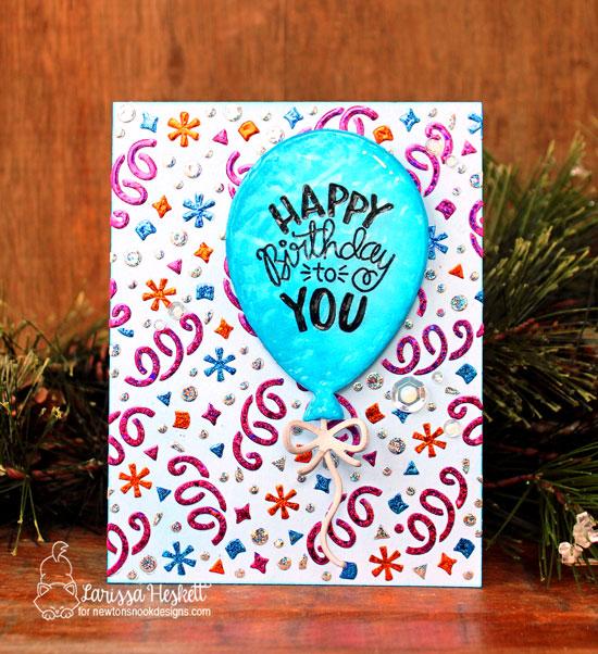 Birthday Balloon Card by Larissa Heskett | Uplifting Wishes Stamp Set, Confetti Stencil and Balloon Shaker Die Set by Newton's Nook Designs #newtonsnook #handmade