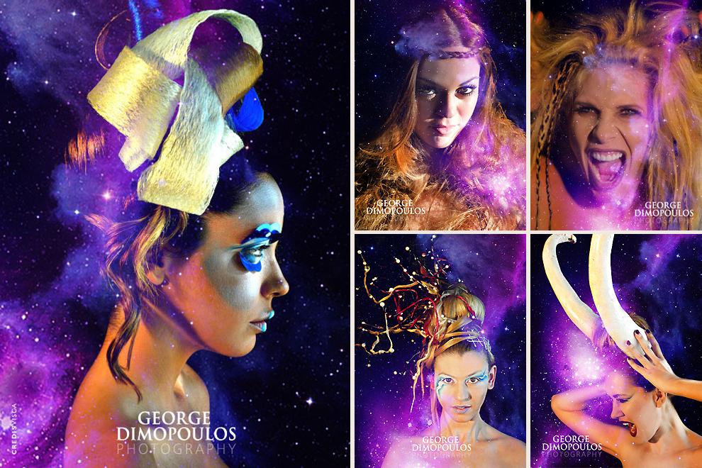 Zodiac : Δημιουργικό και Φωτογράφιση by George Dimopoulos για το ημερολόγιο του διάσημου hair stylist George Sarris με την καλλιτεχνική επιμέλεια Make Up της καθηγήτριας Ελένης Χριστοδούλου